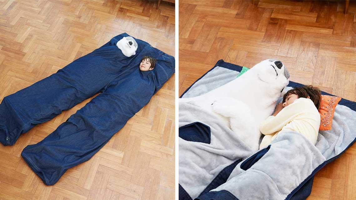 Feeling Blue? Snuggle Up With Your Best Bud In This Weird Denim Sleeping Bag From Japan