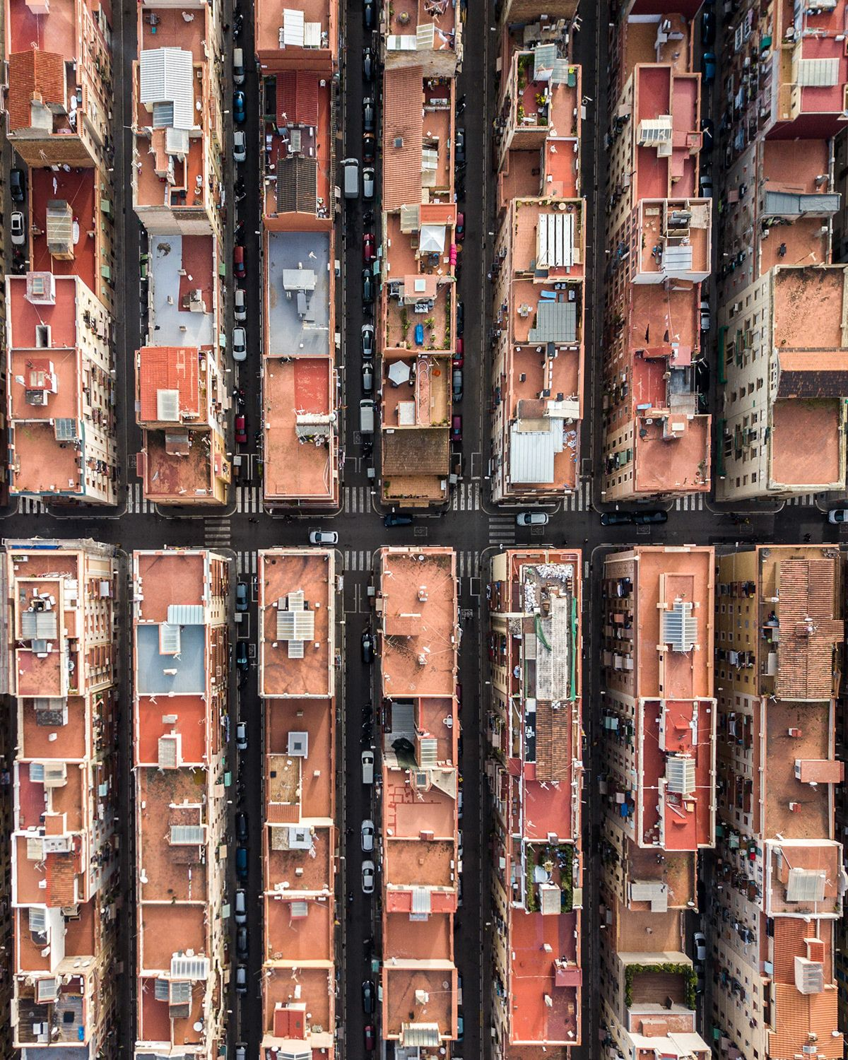 Aerial photographs of Barcelona reveal the geometric patterns of the coastal city